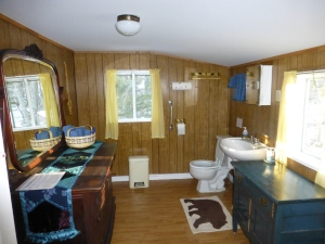 Bathroom with new fixtures, plenty of towels, forest views.